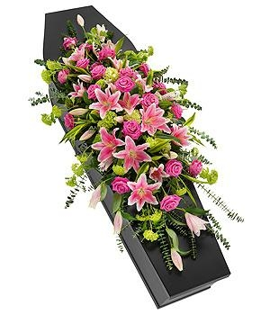 Pink Rose and Lily Casket Spray.