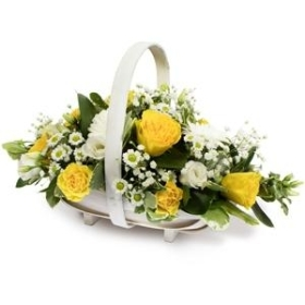 Yellow & White Basket Arrangement