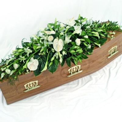 WHITE ANTHURIUM CASKET SPRAY